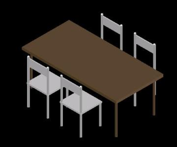 Dining Table 3D DWG Model for AutoCAD • Designs CAD