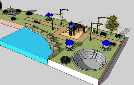 3d park model on waterfront with 4 seating areas swimming pool designs cad for Swimming pool 3d model free download
