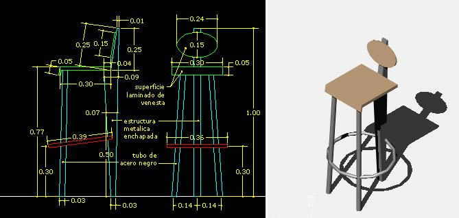 Bar Stool with short back Details and Dimensions 3D DWG  : chairtobar3ddwgmodelforautocad16961 from designscad.com size 669 x 318 jpeg 35kB