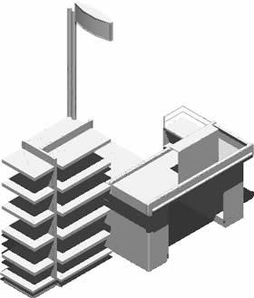 Supermarket Checkout Counter 3D DWG Model for AutoCAD