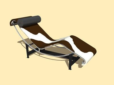 Le Corbusier Leather Chaise Lounge Chair 3d Dwg Model For