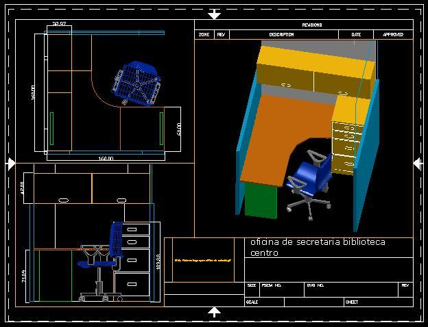cubicle recepcion library 3d dwg model for autocad