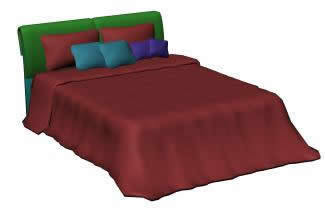 Double bed with blanket 3d max model for 3d studio max for Cama 3d dibujo