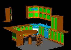 Kitchen With Applied Materials 3D DWG Model For AutoCAD O DesignsCAD