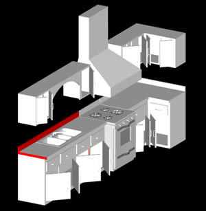 Integral kitchen cabinet 3d dwg model for autocad for Cocina restaurante autocad