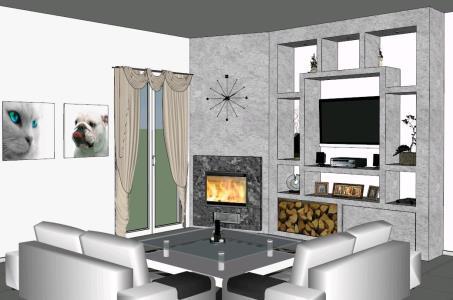 Living Room 3D SKP Model for SketchUp • Designs CAD