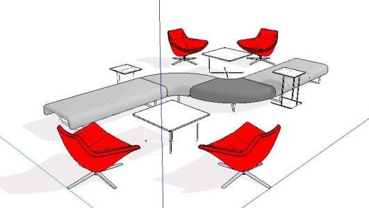 Modern Living Room Furniture 3d Skp Model For Sketchup Designs