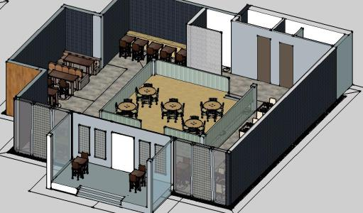 Restaurant Furniture 3d Skp Model For Sketchup Designs Cad