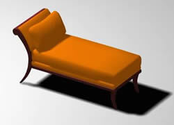 Antique chaise lounge 3d max model for 3d studio max for Chaise lounge cad block