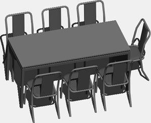 7 Seater Dining Table with Chairs 3D DWG Model for AutoCAD \u2022 Designs CAD