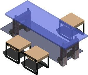 Glass Dining Table with 3 Small Benches 3D DWG Model for AutoCAD \u2022 Designs CAD