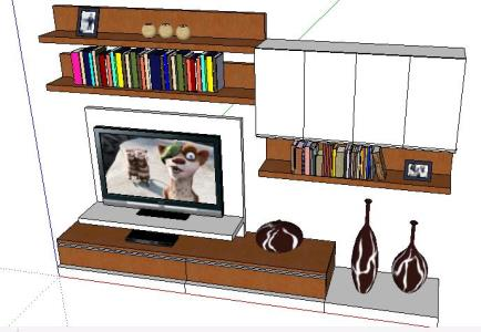 Tv Cabinet And Bookcase 3D SKP Detail For SketchUp. ADVERTISEMENT
