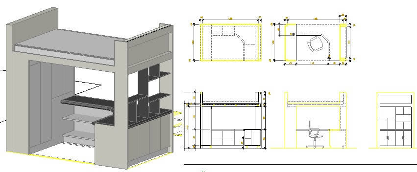 Wood Bunk Bed DWG Block for AutoCAD • Designs CAD
