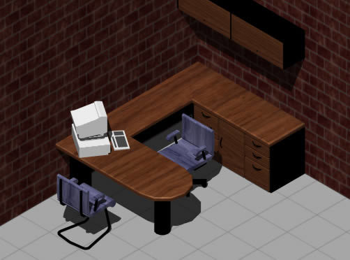 Office desk 3d dwg model for autocad designs cad for Office table 3d design