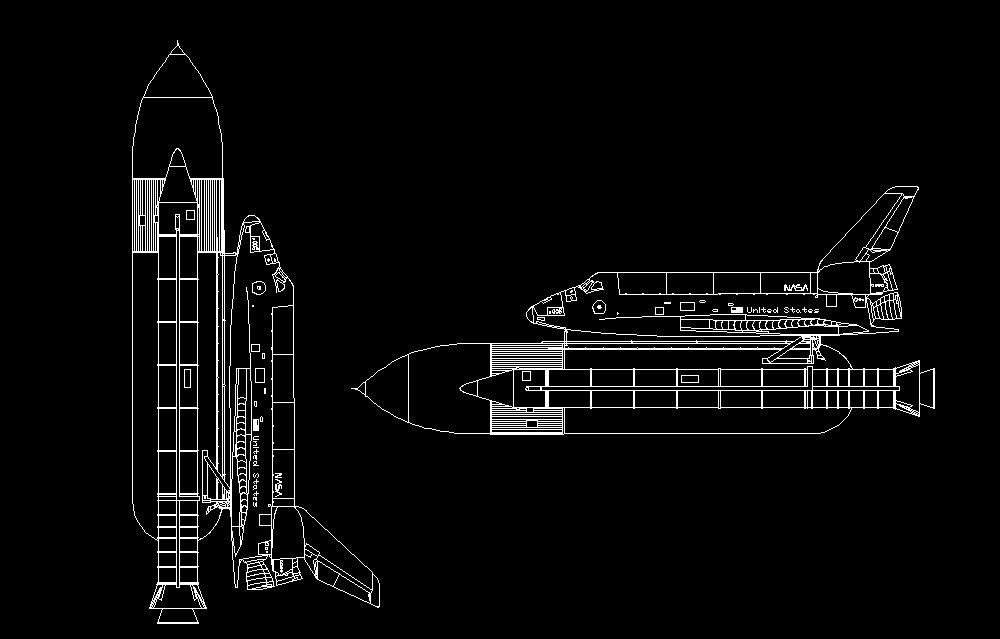 Nasa space shuttle spacecraft side view elevation 2d dwg for Nasa architecture