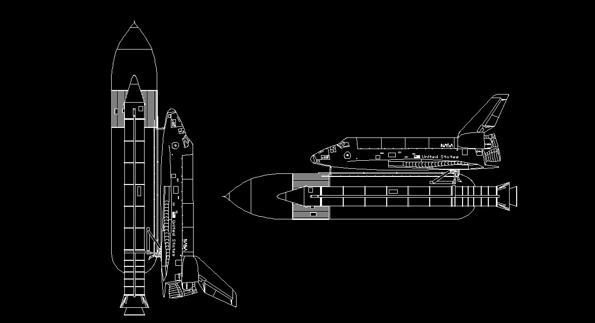 Nasa Space Shuttle Spacecraft Side View Elevation 2d Dwg Block For Autocad on plumbing diagram symbols