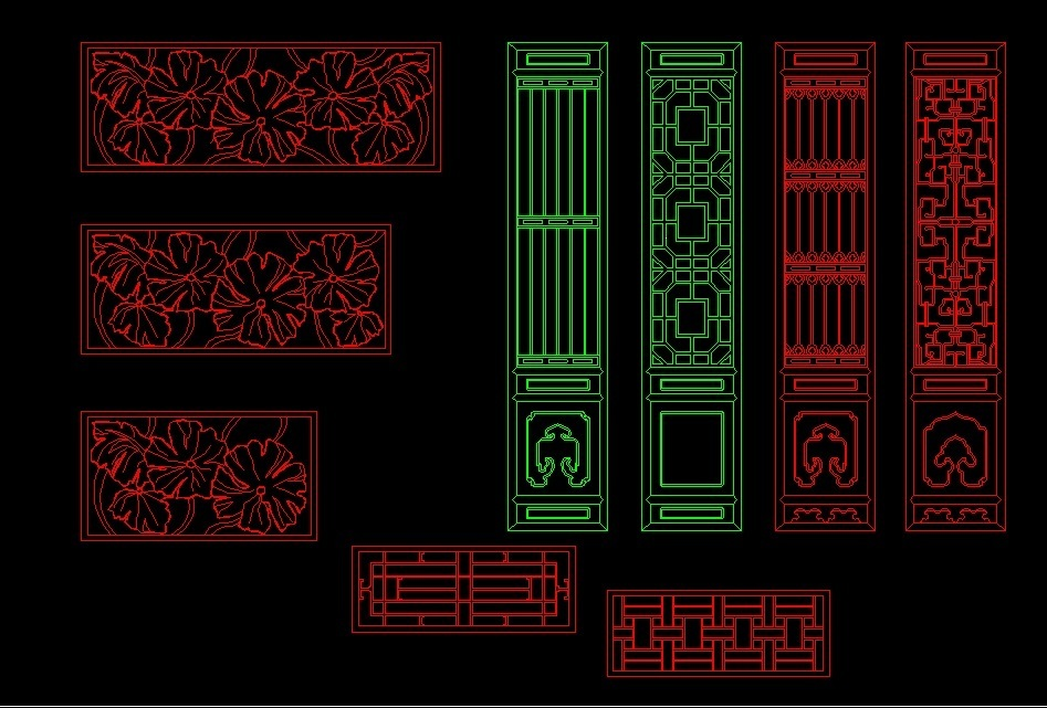 Ornamental Partitions Screens Front View 2d Dwg Block For
