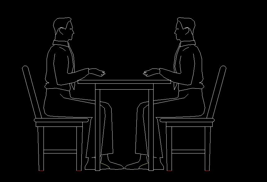 2 Men Sitting At A Table Speaking Human Figure Side View Elevation 2D DWG Block For AutoCAD