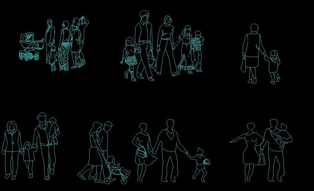 Parents With Kids Families Front And Side Elevations 2D DWG Block For AutoCAD • Designs CAD