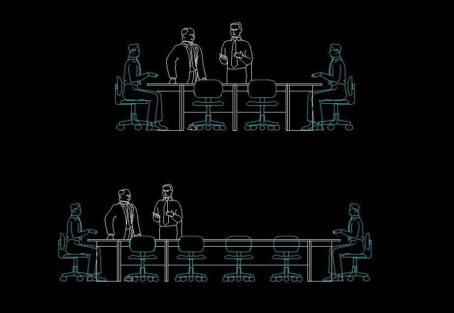 Front Elevation Autocad 2d : People sitting at meeting table human figure front view