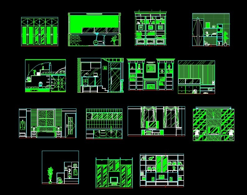Front Elevation Design In Autocad : Cabinets for living room study and kitchen front elevation