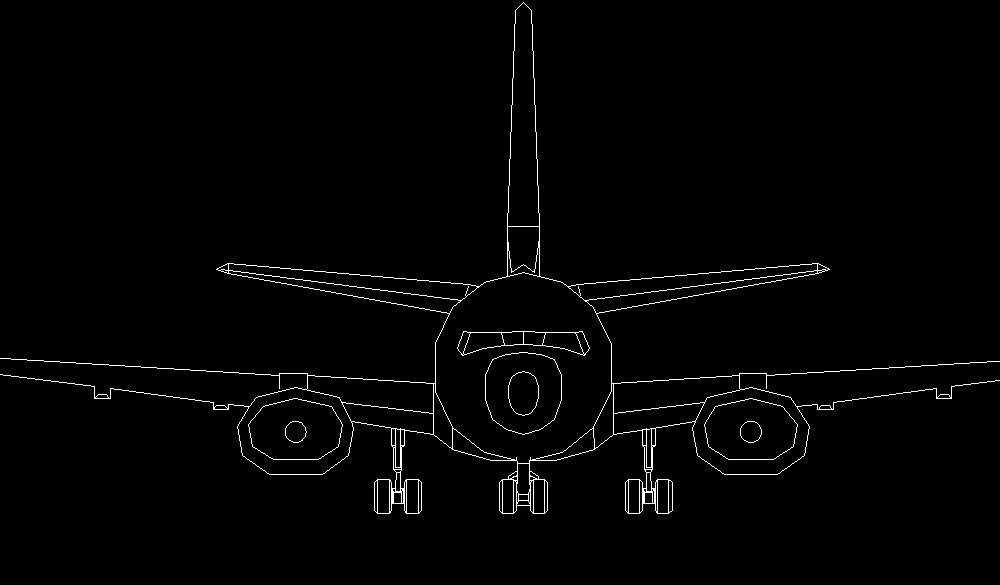 Front Elevation Autocad 2d : Aeroplane front view elevation d dwg block for autocad