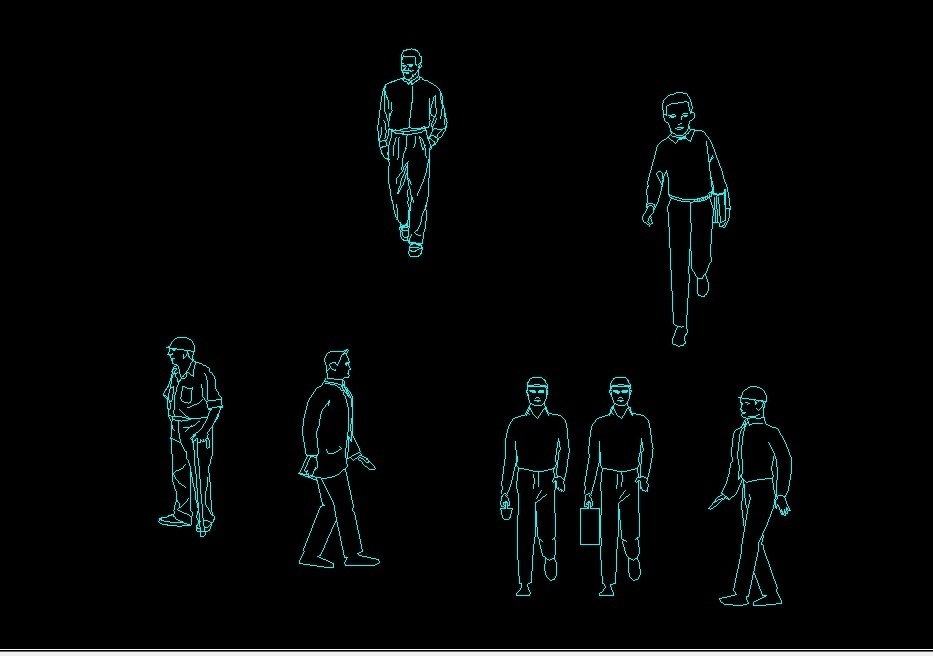 Man Worker Engineer And Boy Human Figure Elevations 2D DWG
