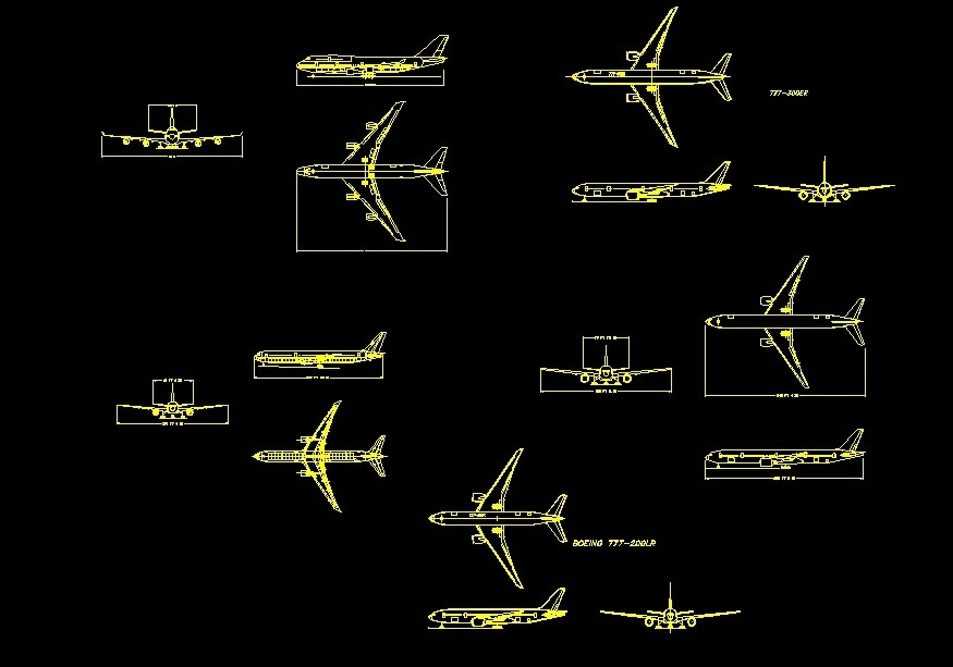 Front Elevation Autocad 2d : Boeing top front and side views elevations