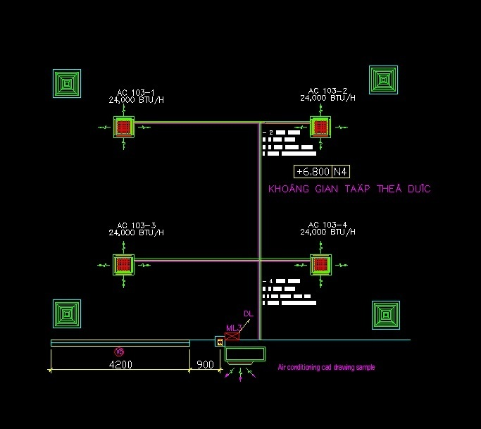 Central Air Conditioning System 2d Dwg Details For Autocad