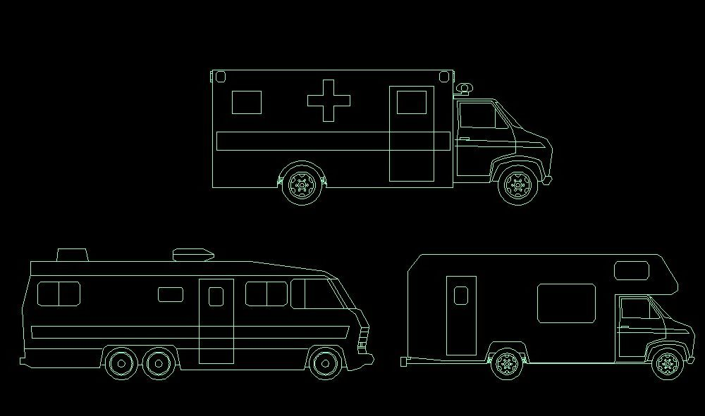 Ambulance Vehicle Side View 2D DWG Block For AutoCAD • Designs CAD