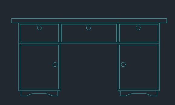 Office Desk With Lockers 2d Dwg Block For Autocad