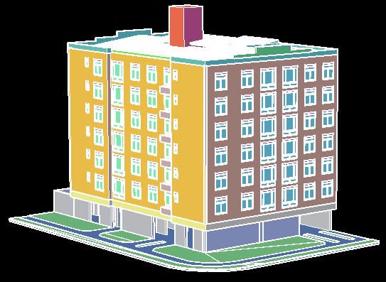 Apartment building 3d dwg full project for autocad for Apartment design autocad