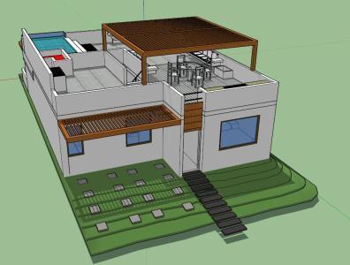 beach house model 3d skp model for sketchup advertisement - House Model 3d