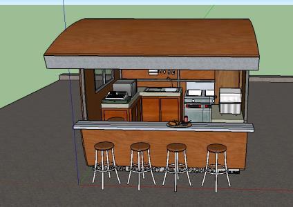 Fast Food Kiosk 3d Skp Model For Sketchup Designs Cad