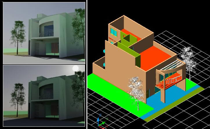 Housing Two Plants 3d Dwg Model For Autocad Designs Cad