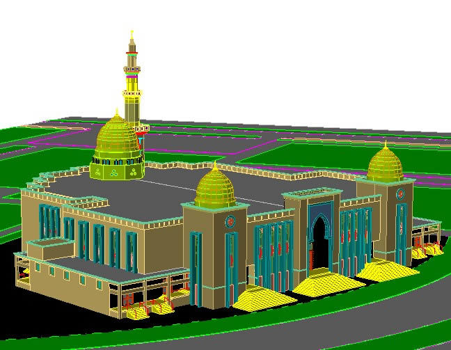 Mosque Cad Drawing 3d Dwg Detail For Autocad Designs Cad