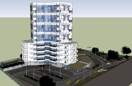 Residential Complex And Shopping Square 3d Skp Model For