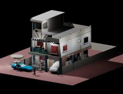 residential model 3d dwg model for autocad designs cad - House Model 3d