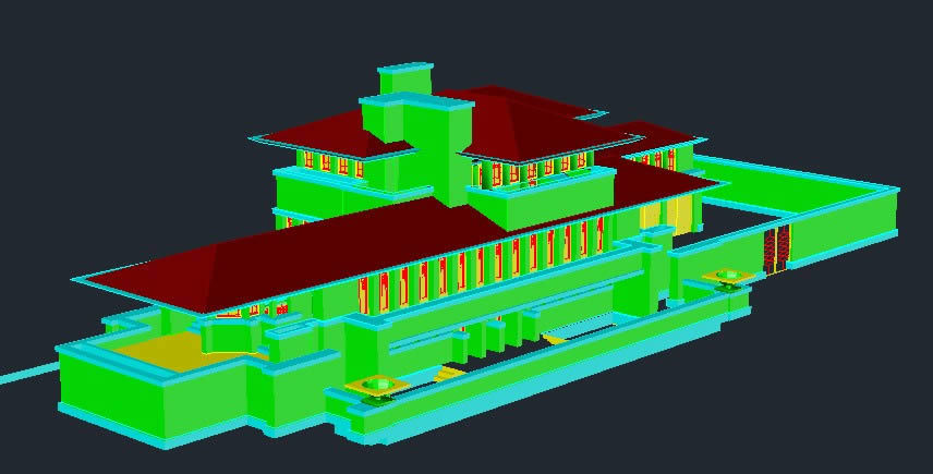 Robie House Frank Lloyd Wright E 3d Dwg Full Project For