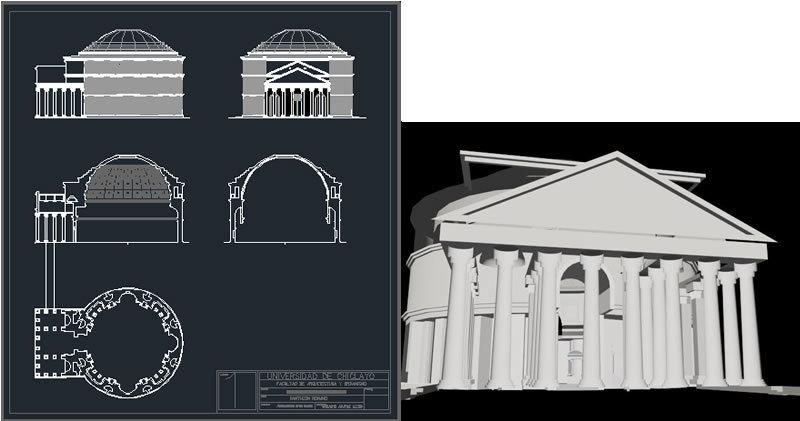 Roman Pantheon 3d Dwg Section For Autocad Designs Cad