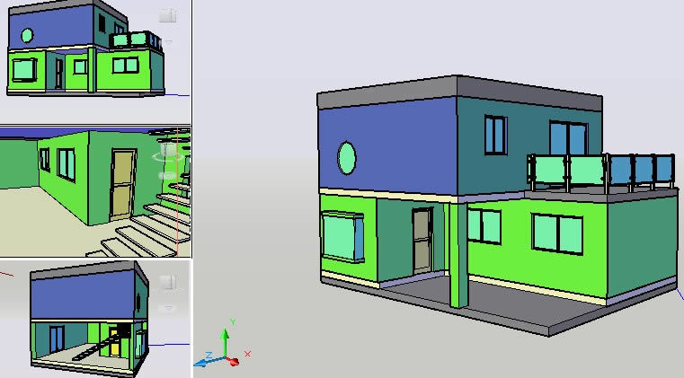 Simple House 3d Dwg Model For Autocad