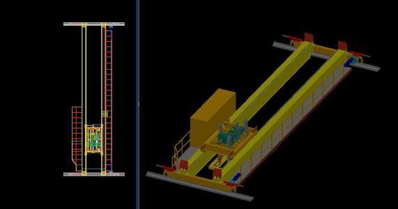 Bridge Crane 3D DWG Model for AutoCAD