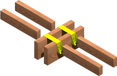 Joists Union With Beams In Wooden Structure 3d Dwg Detail