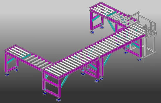 Roller Conveyor Turner 3d Dwg Detail For Autocad  U2022 Designs Cad
