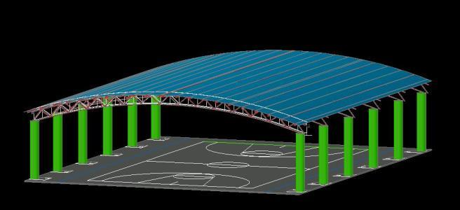 Roofing Basketball Court 3d Dwg Model For Autocad