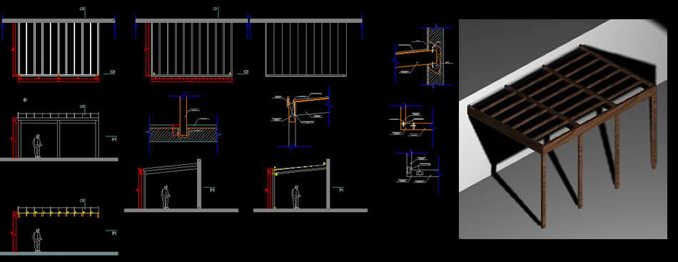 Wood Ceiling Polycarbonate 3d Dwg Model For Autocad