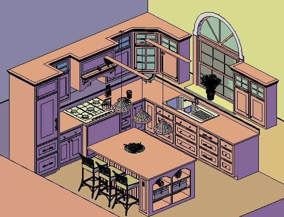 Kitchen 3D DWG Model For AutoCAD O DesignsCAD