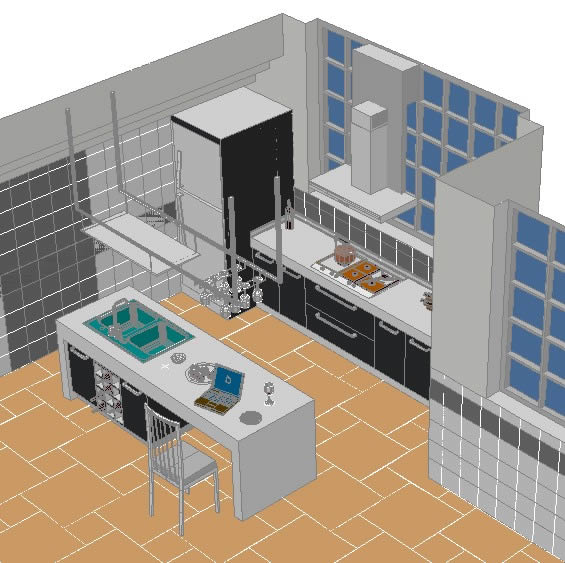Kitchen Design Autocad Dwg: Kitchen 3D DWG Model For AutoCAD • Designs CAD