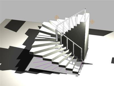 Staircase 3d dwg model for autocad designs cad for Escaleras en u