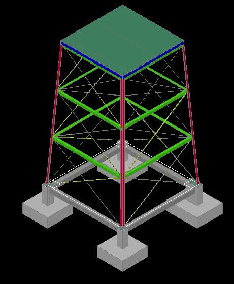 Structure Tower For Water Tank 3d Dwg Model For Autocad